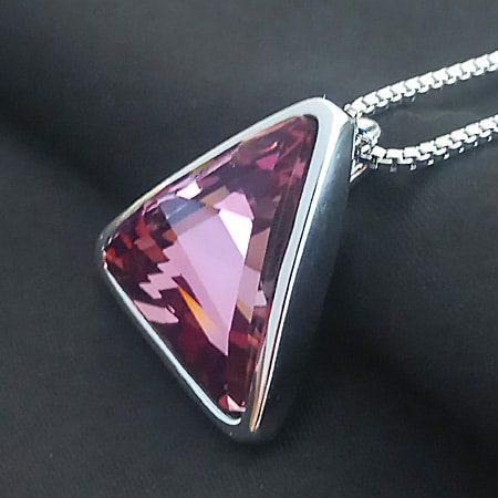 Purple Platinum Crystal Necklace