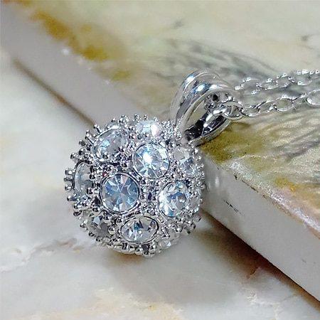 Side of Round Platinum Necklace