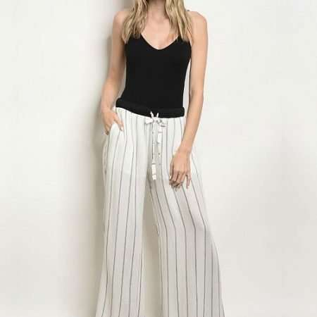 White and Black Stripe Pants