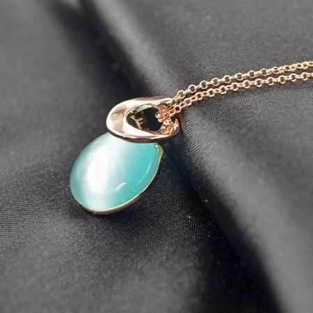 Blue Opal Round Necklace
