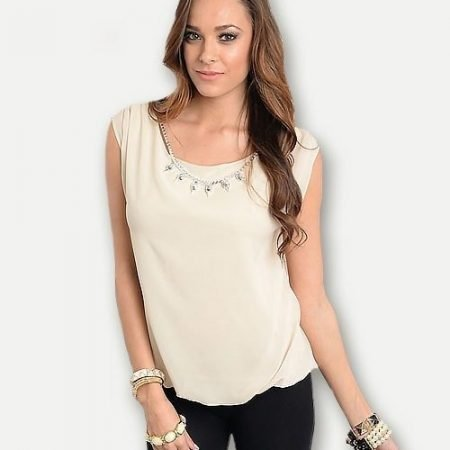 Cream Top with Necklace