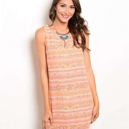 Peach Print Dress
