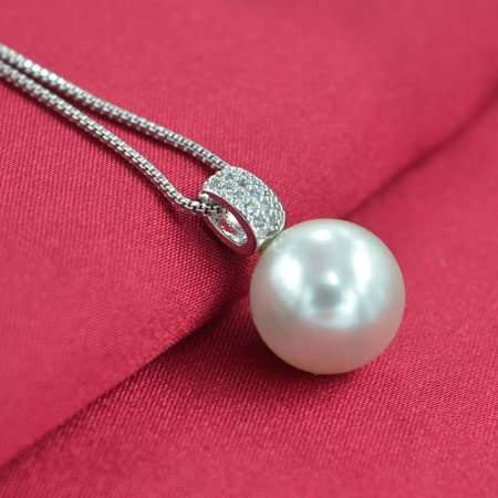Silver Pearl Round Necklace
